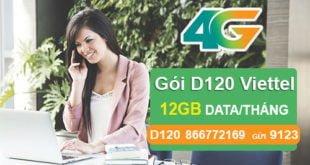 Đăng ký gói D120 của Viettel nhận ngay 12GB cho Dcom giá chỉ 120.000đ