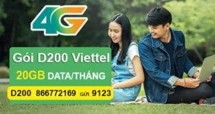 Đăng ký gói D200 của Viettel nhận ngay 20GB cho Dcom giá cước 200.000đ