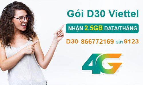 Đăng ký gói D30 của Viettel nhận ngay 2.5GB cho Dcom giá 30.000đ