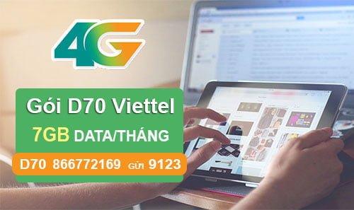 Đăng ký gói D70 của Viettel có ngay 7GB cho Dcom giá chỉ 70.000đ