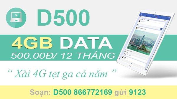 Đăng ký gói D500 Viettel cho Dcom xài Data tẹt ga cả năm, 4GB/tháng