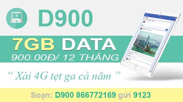 Đăng ký gói D900 Viettel cho Dcom xài Data tẹt ga cả năm, 7GB/tháng
