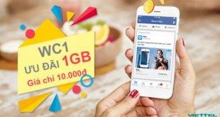 Đăng ký gói cước WC1 Viettel giá 10.000đ ưu đãi khủng 1GB/ngày