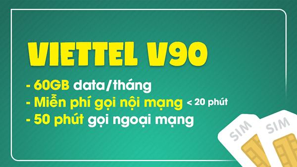 Đăng ký gói V90 Viettel - Data, gọi thoại thả ga cả tháng