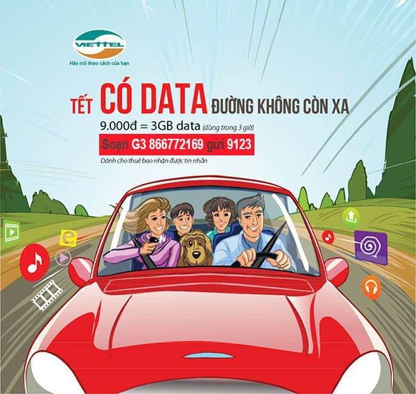 Gói G3 Viettel, mua thêm 3GB Data dùng trong 3 giờ chỉ 9.