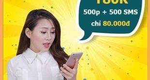 Đăng ký gói T80K Viettel miễn phí 500 phút nội mạng & 500SMS