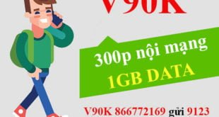 Đăng ký gói V90K Viettel ưu đãi 1GB & 300 phút nội mạng chỉ 90.000đ