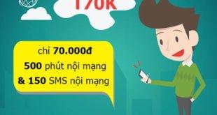 Đăng ký gói T70K Viettel miễn phí 500 phút nội mạng & 150SMS