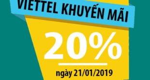 HOT: Viettel khuyến mãi 20% giá trị tất cả thẻ nạp trong 21/01/2019