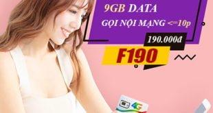 Gói Combo F190 Viettel ưu đãi 9GB & miễn phí gọi nội mạng