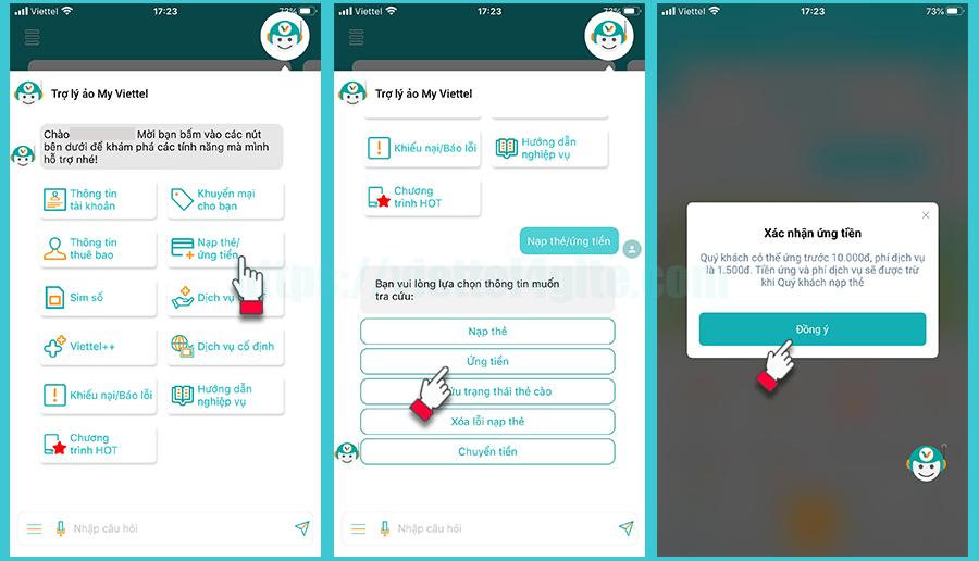 Các bước ứng tiền qua trợ lý ảo MyViettel