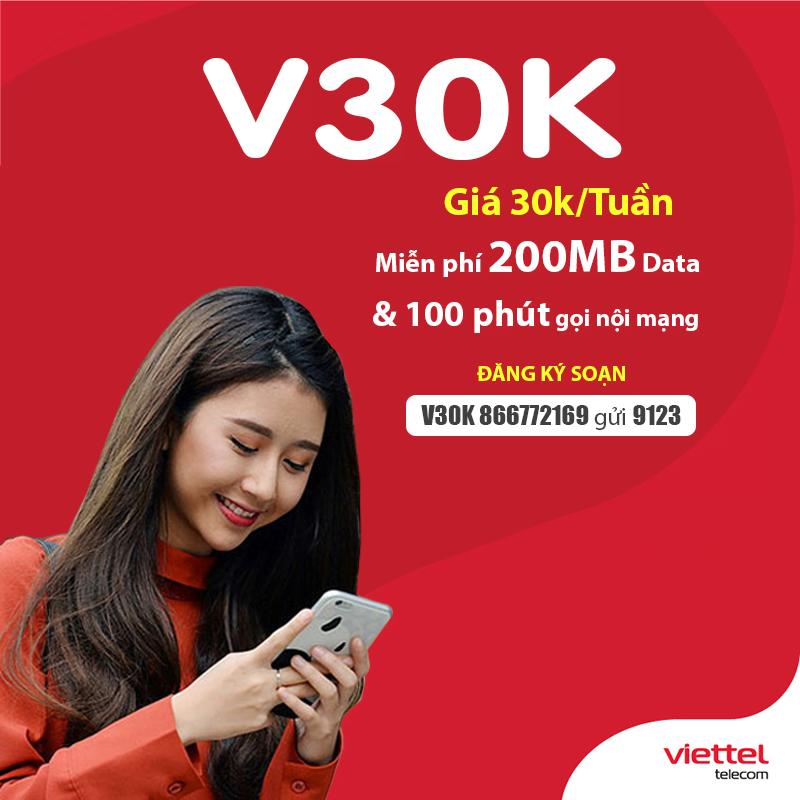 Đăng Ký Gói V30K Viettel Ưu Đãi 200MB & 100 Phút Nội Mạng Chỉ 30.000đ
