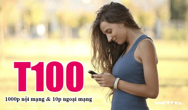 Gói T100 Viettel trả sau ưu đãi 1000 phút nội mạng & 10p ngoại mạng