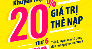 Viettel khuyến mãi tặng 20% giá trị thẻ nạp ngày vàng 20/05/2019