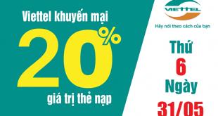 HOT: Viettel khuyến mãi tặng 20% giá trị thẻ nạp duy nhất 31/05/2019