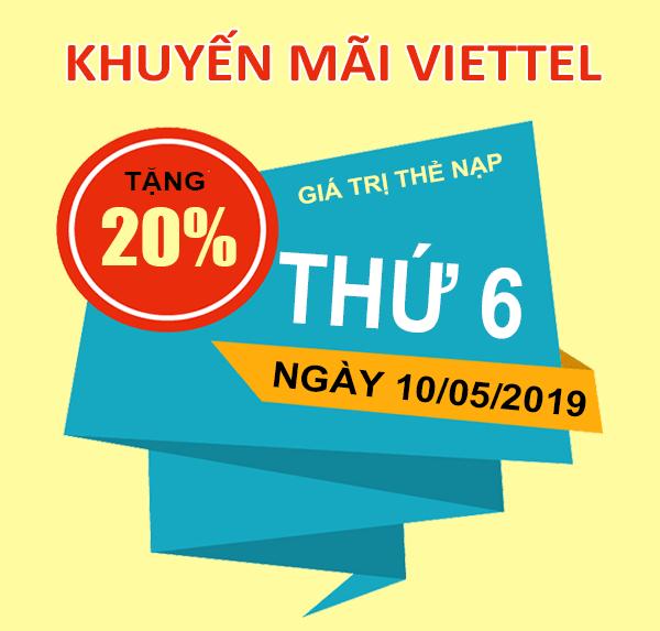 HOT: Viettel khuyến mãi tặng 20% giá trị thẻ nạp duy nhất 10/05/2019