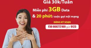 Đăng ký gói F30 Viettel ưu đãi 3GB + Miễn phí gọi nội mạng