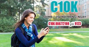 Đăng ký Gói C10K Viettel ưu đãi 500MB Data & 25 phút nội mạng