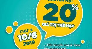 HOT: Khuyến mãi Viettel tặng 20% giá trị ngày vàng 10/06/2019