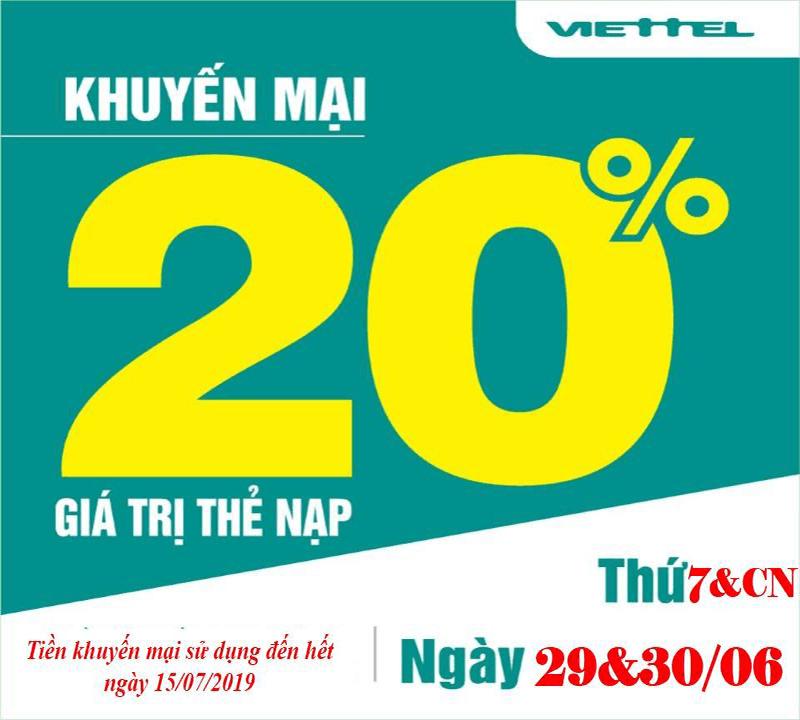 HOT: Viettel khuyến mãi 20% giá trị 2 ngày liên tiếp 29-30/06/2019
