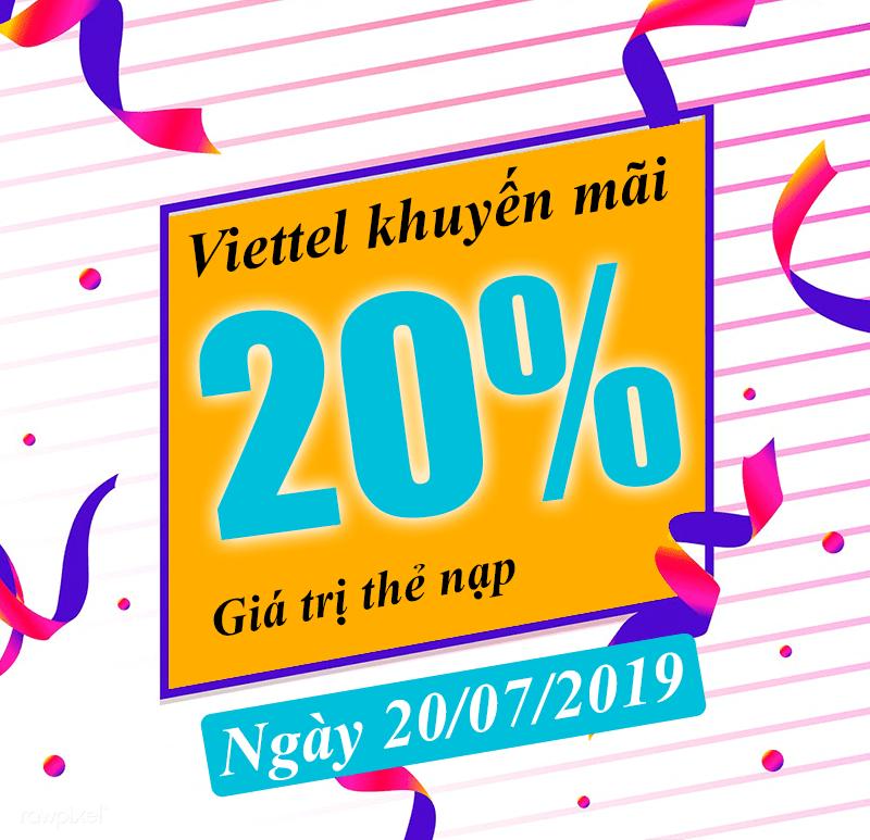 HOT: Viettel khuyến mãi tặng 20% giá trị ngày vàng 20/07/2019
