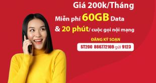 Đăng Ký Gói ST200 Viettel Có 60GB & Miễn Phí 20phút/Cuộc Gọi Nội Mạng
