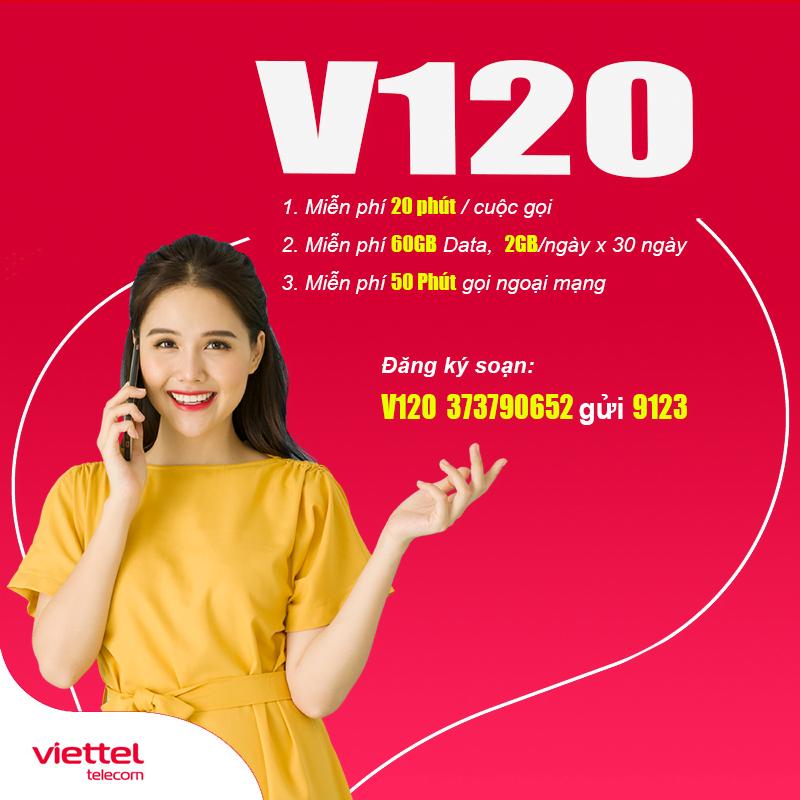 Đăng ký gói V120 Viettel có 60GB Data/Tháng & miễn phí gọi nội mạng