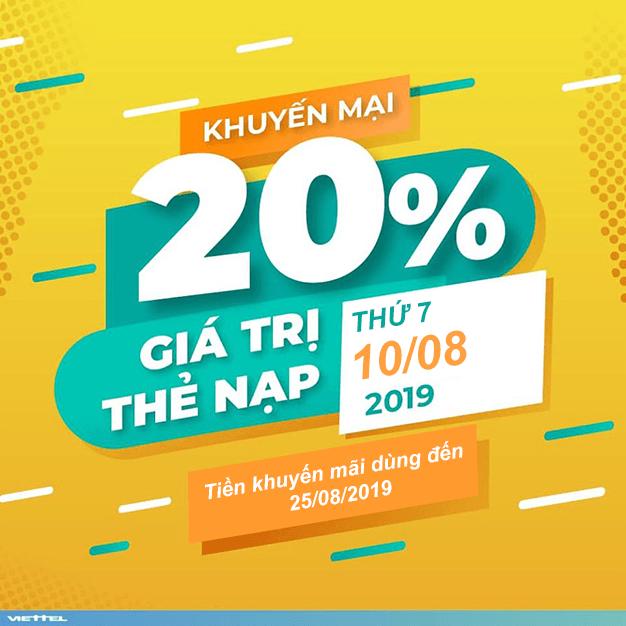 Viettel khuyến mãi 20% giá trị thẻ nạp ngày vàng 10/08/2019