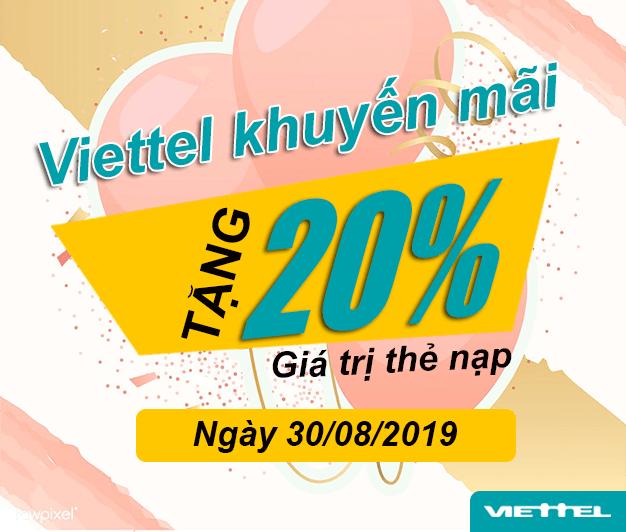 Khuyến mãi Viettel tặng 20% giá trị ngày 30/08/2019