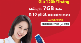 Đăng Ký Gói F120U Viettel Khuyến Mãi 7GB & Gọi Nội Mạng Miễn Phí