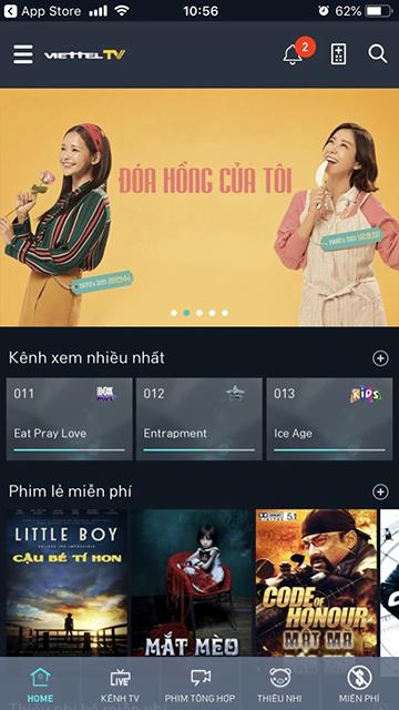 Giao diện của ứng dụng Viettel TV trên Iphone khi cài đặt hoàn tất
