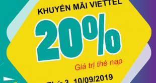 Khuyến mãi Viettel tặng 20% giá trị ngày 10/09/2019