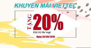 Khuyến mãi Viettel tặng 20% giá trị 20/09/2019