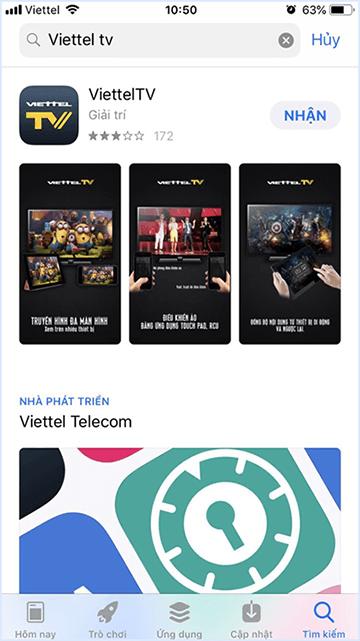 Tìm ứng dụng Viettel TV trên Iphone
