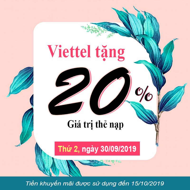 HOT: Viettel khuyến mãi tặng 20% giá trị duy nhất ngày 30/09/2019