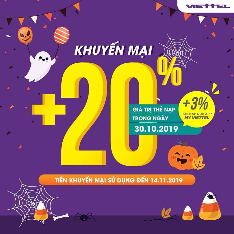 Viettel khuyến mãi tặng 20% giá trị thẻ nạp 30/10/2019