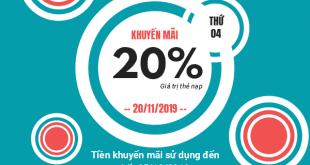 Viettel khuyến mãi 20% giá trị thẻ nạp 20/11/2019