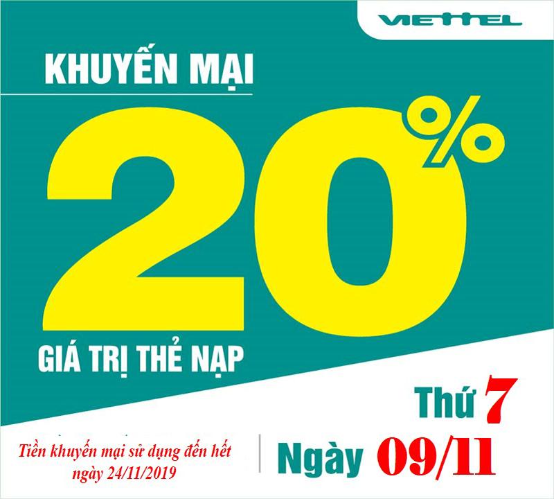 Khuyến mãi Viettel tặng 20% giá trị thẻ nạp ngày 11/09/2019
