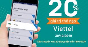 Hot Viettel khuyến mãi tặng 20% giá trị 30/12/2019