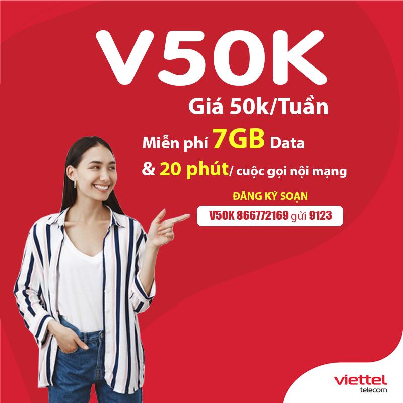 Đăng ký gói V50K Viettel nhận 7GB & gọi nội mạng miễn phí