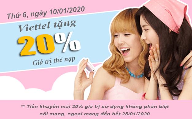 HOT: Viettel khuyến mãi tặng 20% giá trị thẻ nạp 10/01/2020