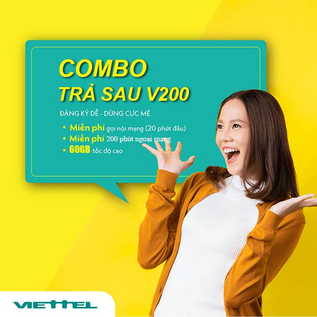 Gói combo trả sau V200 Viettel ưu đãi 60GB & Gọi nội mạng dưới 20 phút miễn phí