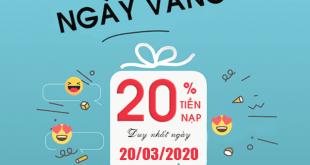 HOT: khuyến mãi Viettel tặng 20% giá trị duy nhất 20/03/2020