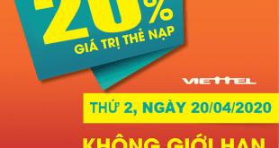 HOT: Viettel tặng 20% giá trị thẻ nạp ngày duy nhất 20/04/2020