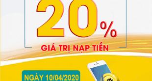 HOT: Viettel khuyến mãi 20% giá trị duy nhất 10/04/2020