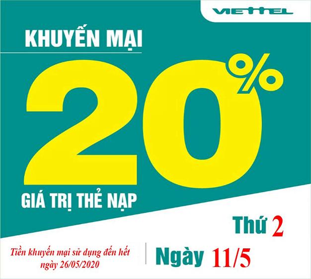 Khuyến mãi Viettel tặng 20% giá trị ngày 11/05/2020