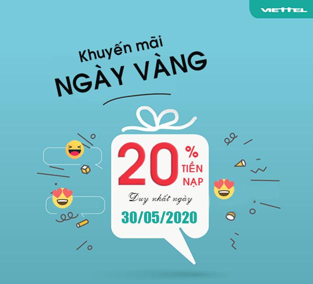 Viettel khuyến mãi tặng 20% giá trị tất cả thẻ nạp ngày 30/05/2020