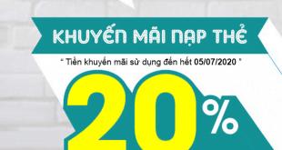 Khuyến mãi Viettel tặng 20% giá trị ngày 20/06/2020