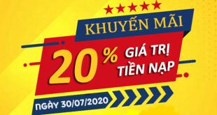 Hot: Viettel khuyến mãi tặng 20% giá trị thẻ nạp ngày 30/07/2020