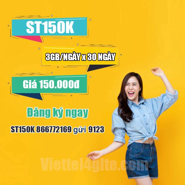 Đăng ký gói ST150K Viettel miễn phí 3GB/ngày trong 30 ngày